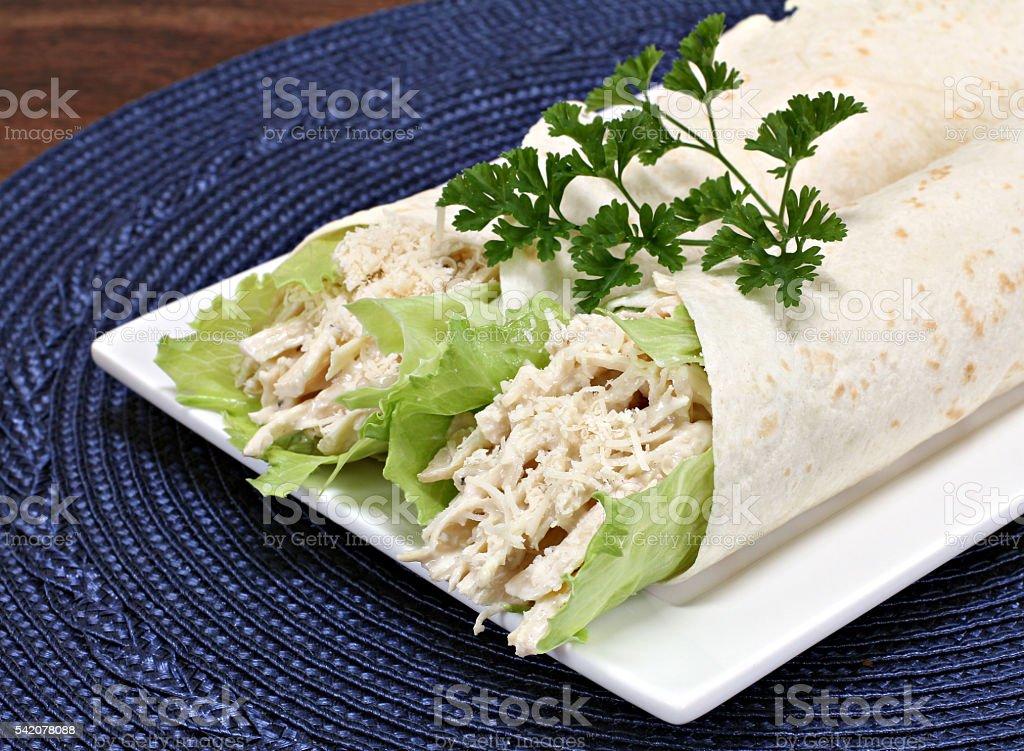 Chicken Cassar wraps with shredded chicken. stock photo