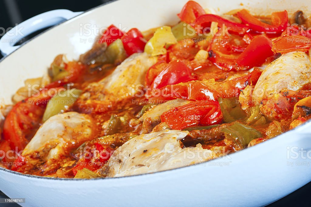 Chicken casserole with peppers. royalty-free stock photo
