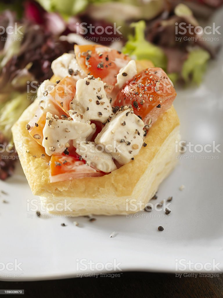 Chicken Ceaser Salad in Puff Pastry Shell royalty-free stock photo