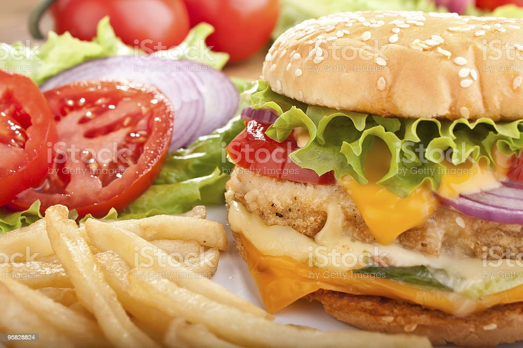 chicken cheeseburger with fries stock photo