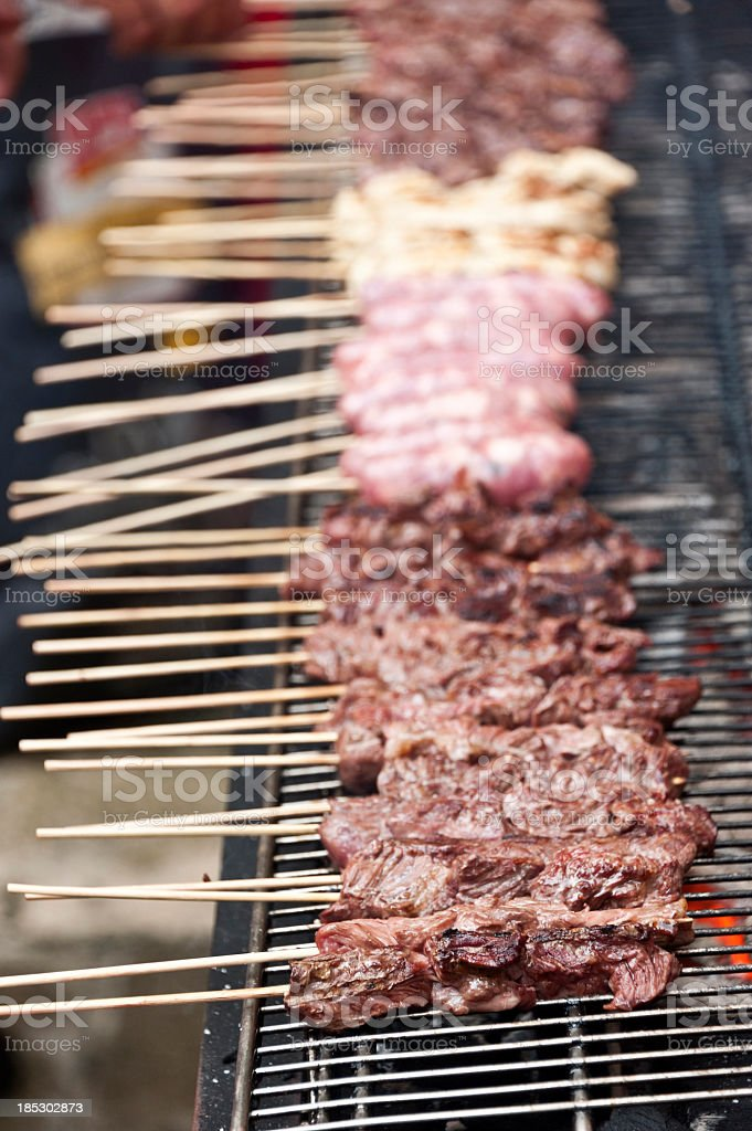 Chicken, chorizo and Beef Steak skewers royalty-free stock photo