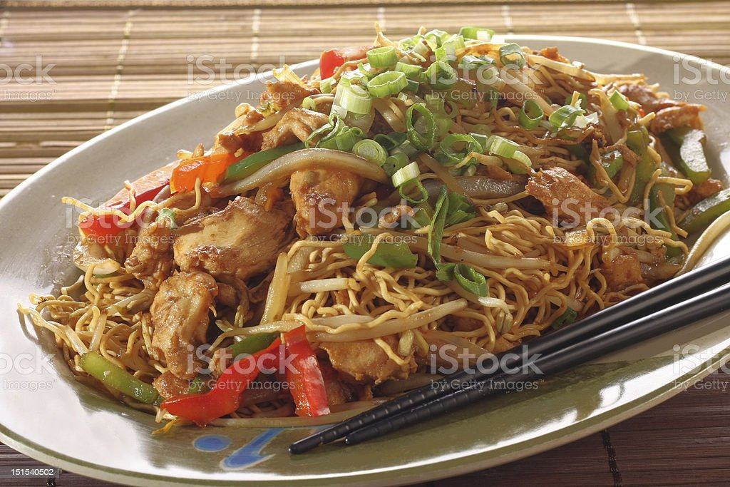 Chicken chow mein royalty-free stock photo