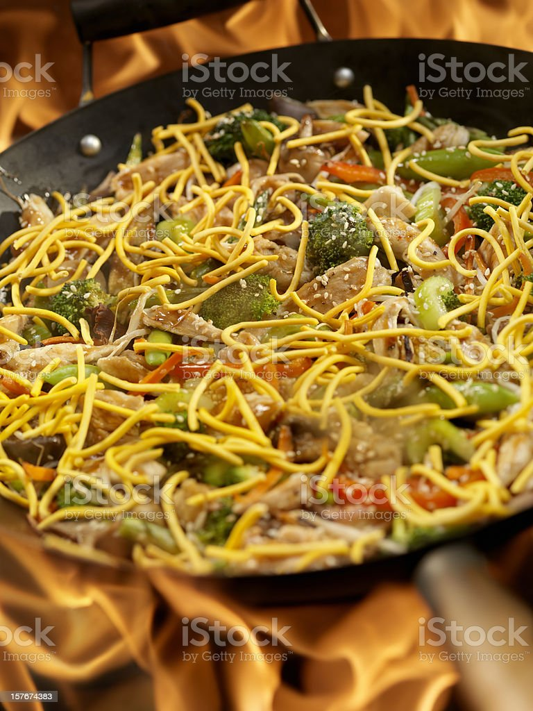 Chicken Chow Mein Vegetable Stir Fry royalty-free stock photo