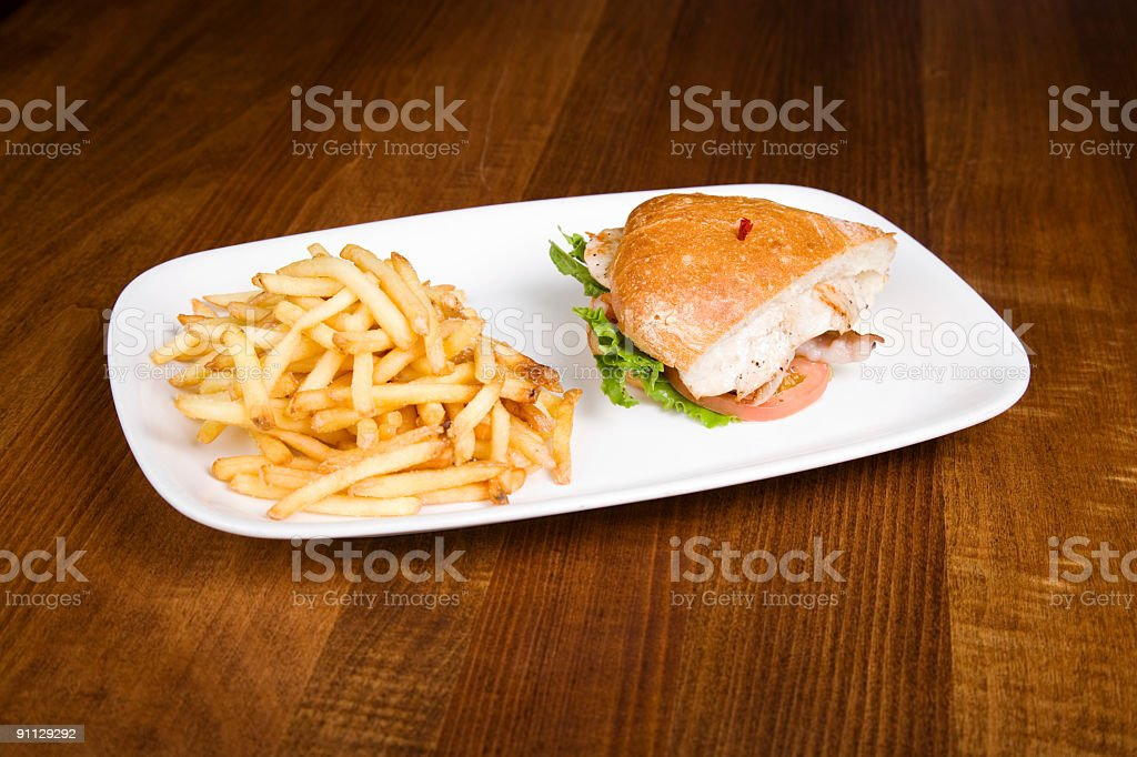 Chicken Club House and Fries royalty-free stock photo