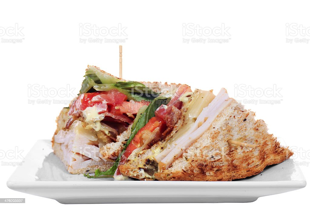 Chicken club sandwich isolated royalty-free stock photo