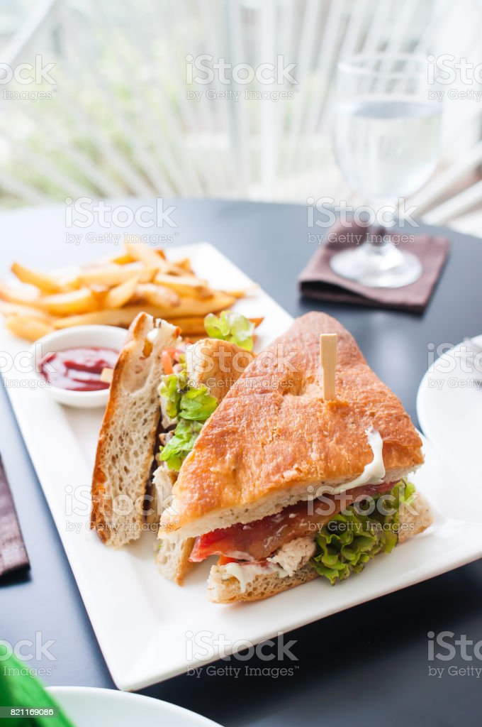chicken clubhouse sandwich stock photo