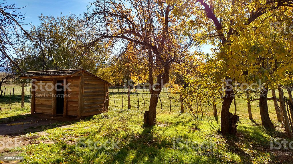 Chicken coop fences fall colors pasture Grafton Ghost Town Utah stock photo