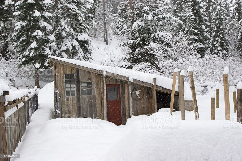 Chicken Coop in the Snow royalty-free stock photo
