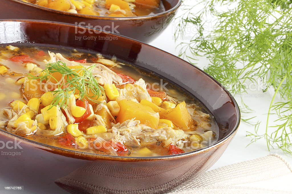 Chicken corn and squash soup royalty-free stock photo
