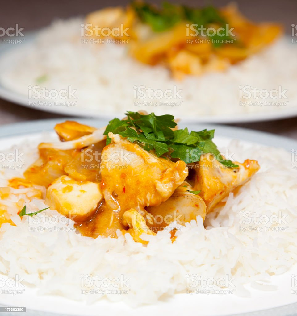 Chicken curry on rice with garnish stock photo