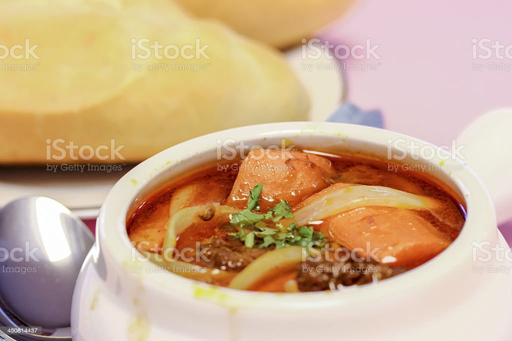 Chicken Curry, served with bread royalty-free stock photo