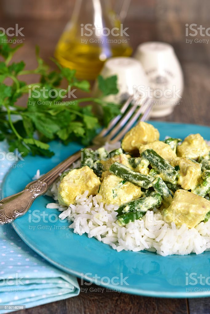 Chicken curry with asparagus bean. stock photo
