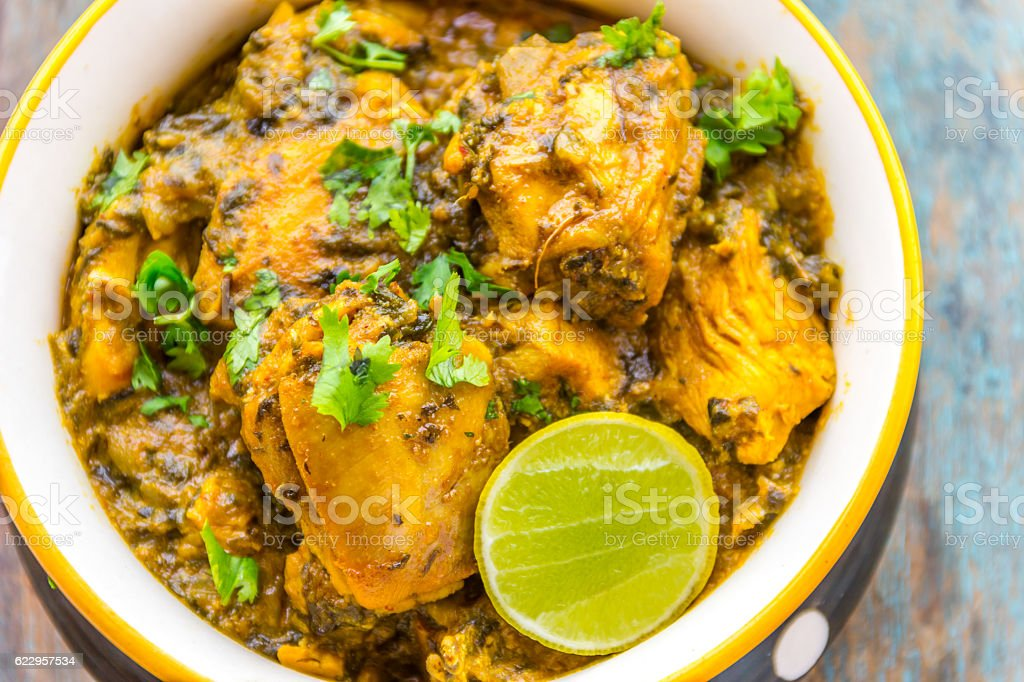 Chicken Curry with Fenugreek stock photo
