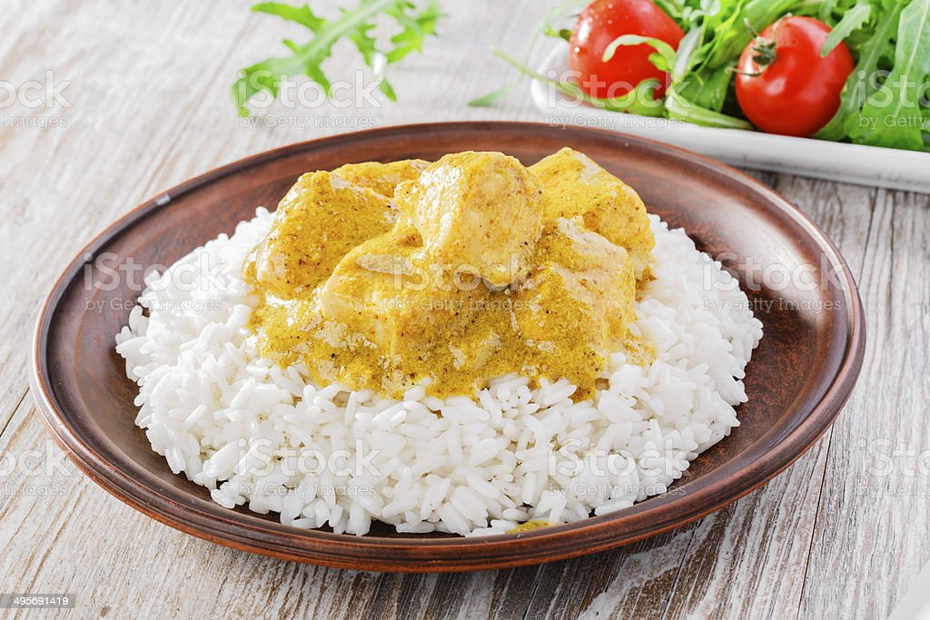 chicken curry with white rice stock photo