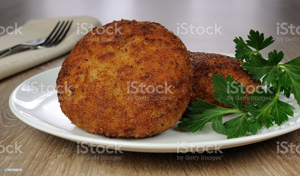 Chicken cutlets in breadcrumbs stock photo