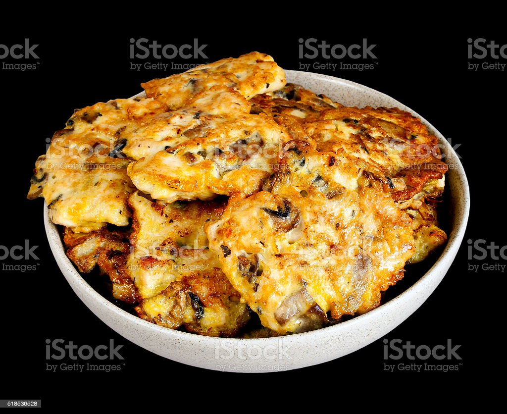 Chicken cutlets on black stock photo