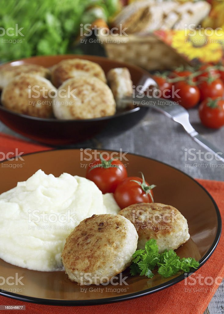 Chicken cutlets with mashed potatoes royalty-free stock photo