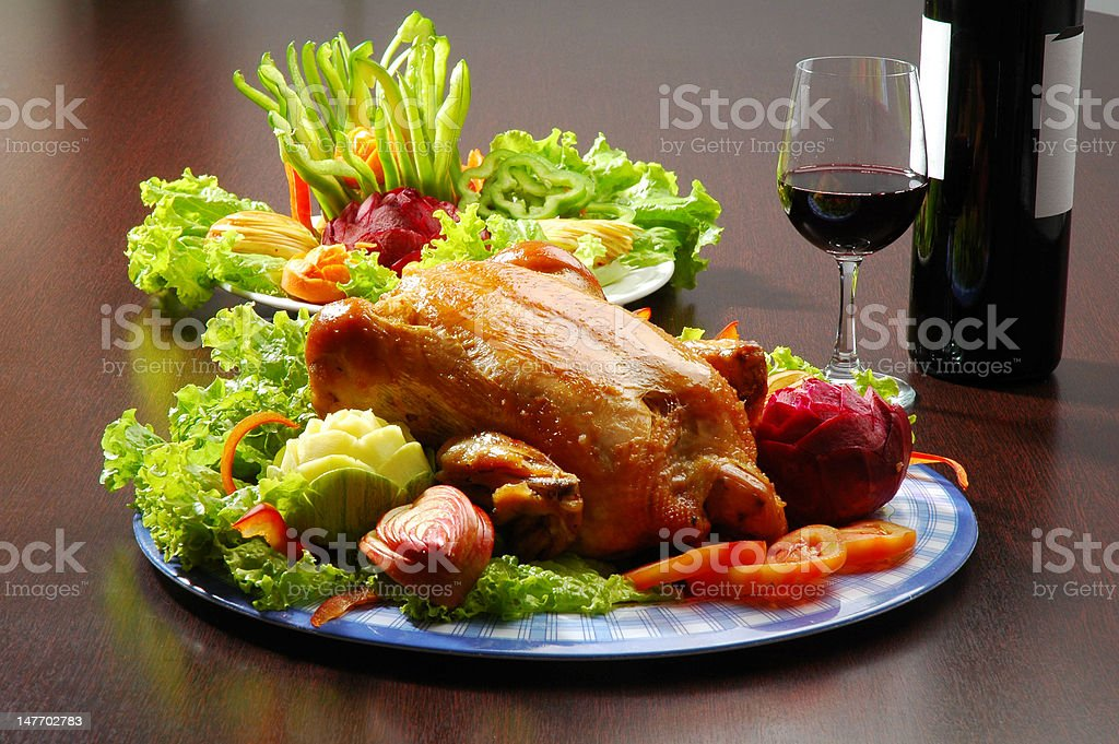 Chicken Dinner with Red Wine stock photo