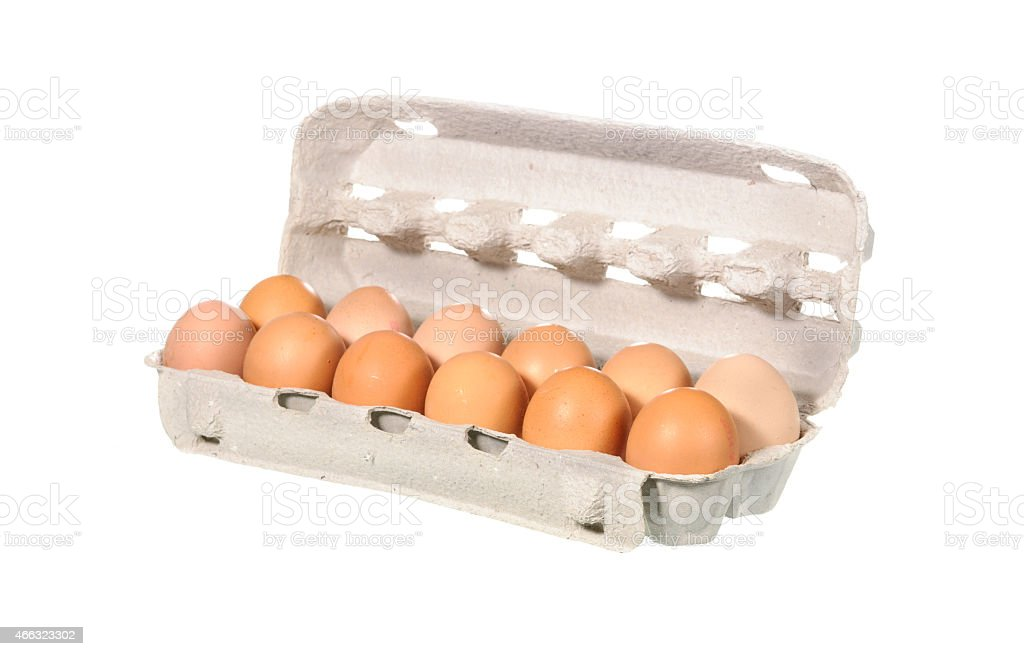 Chicken egg in the package isolated stock photo