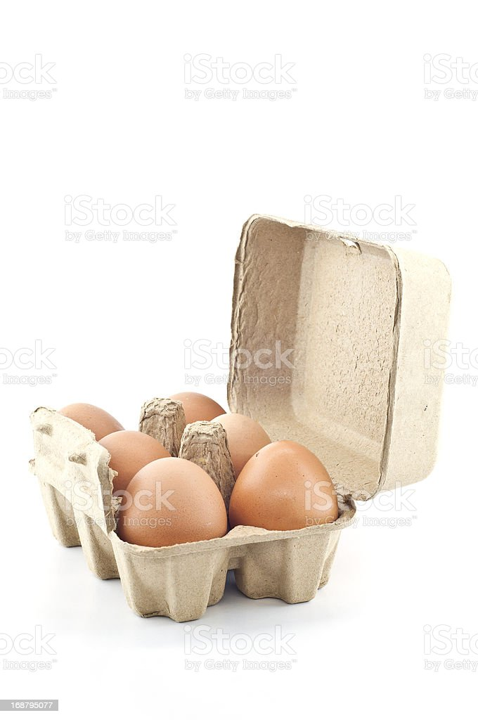 Chicken eggs in recycle paper tray. royalty-free stock photo