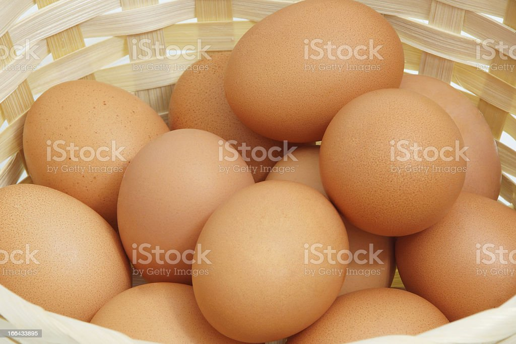 Chicken eggs in the basket. royalty-free stock photo