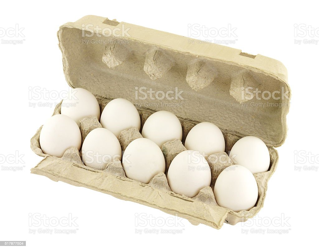 Chicken eggs in the container stock photo