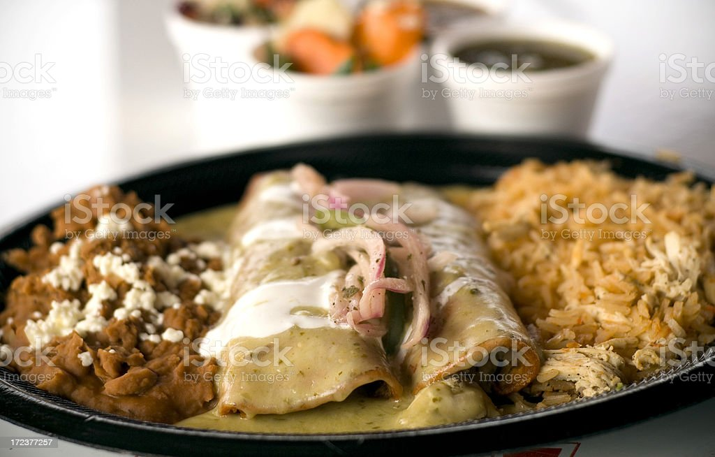 Chicken Enchiladas Lunch Plate, Mexican Fast Food Restaurant Take Out stock photo