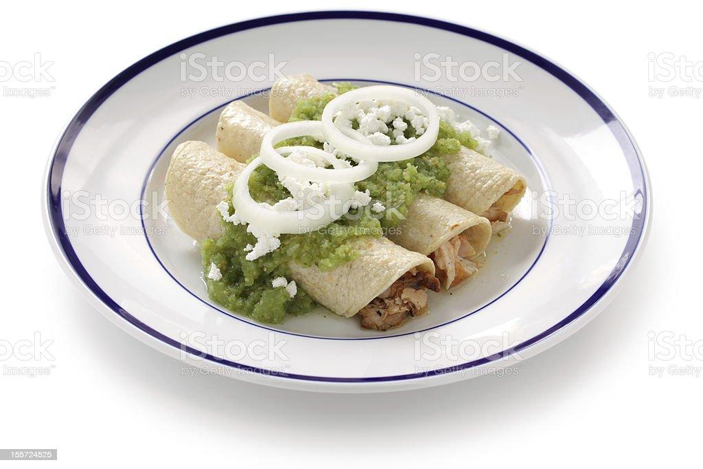 chicken enchiladas verde stock photo