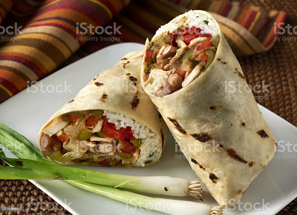 Chicken Fajita Wrap Sandwich or Burrito stock photo