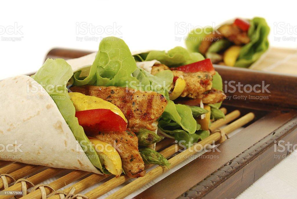 Chicken fajita wrap sandwich stock photo