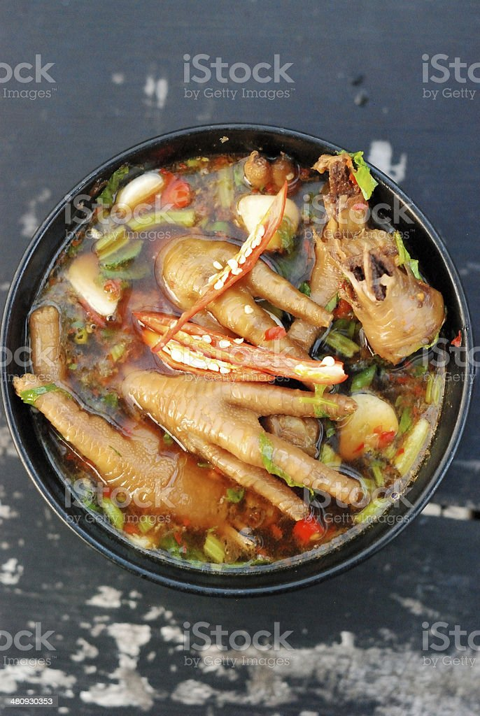 chicken feet soup stock photo