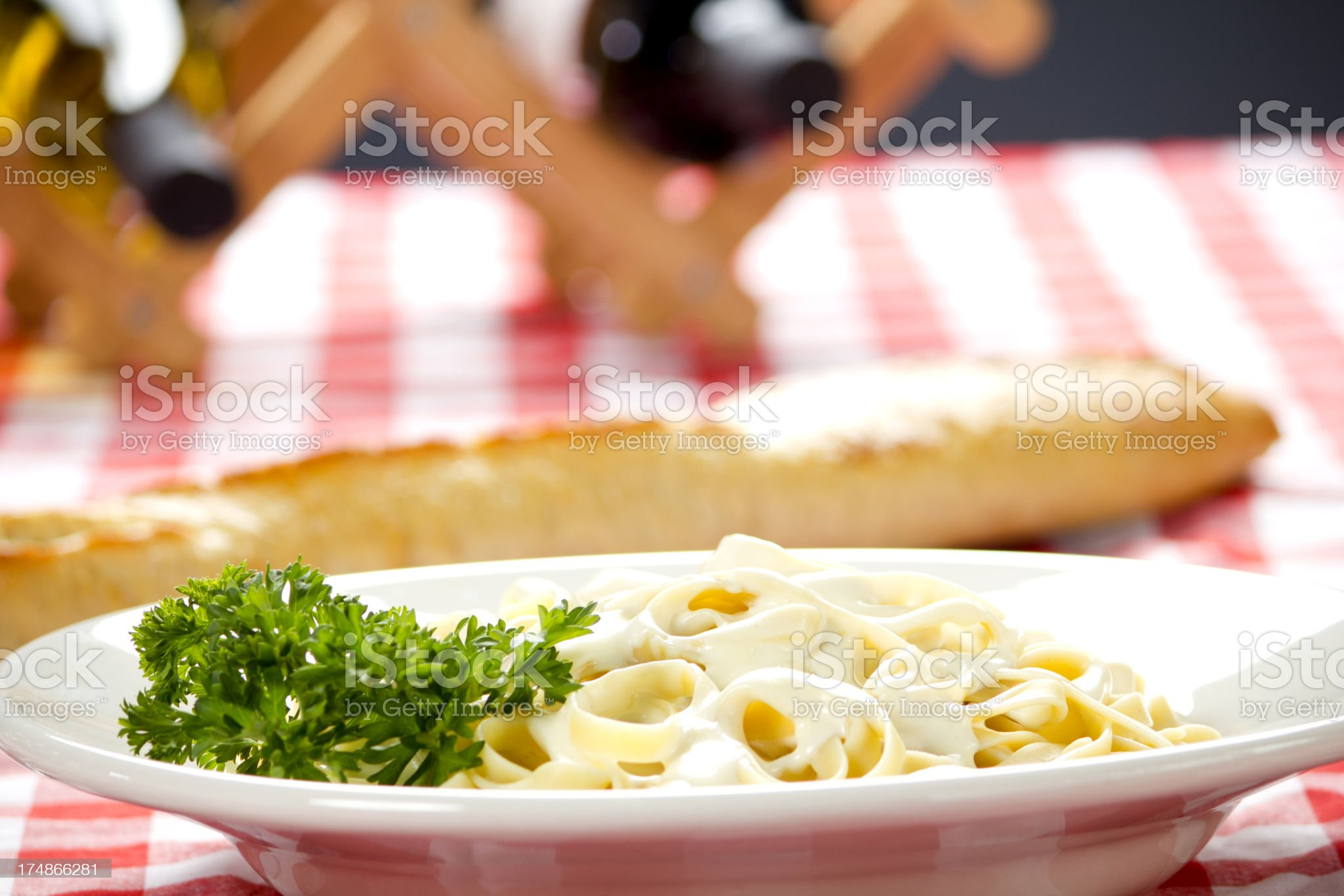 Chicken Fettuccine Alfredo with white wine royalty-free stock photo
