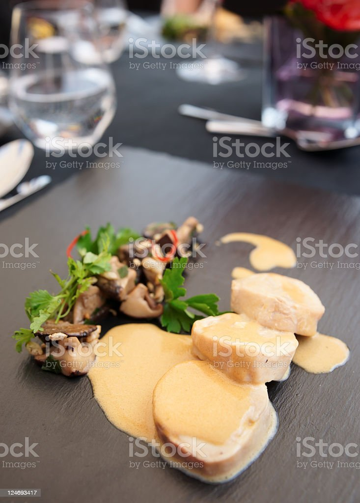 Chicken fillet cooked in asian way with shiitake mushrooms royalty-free stock photo