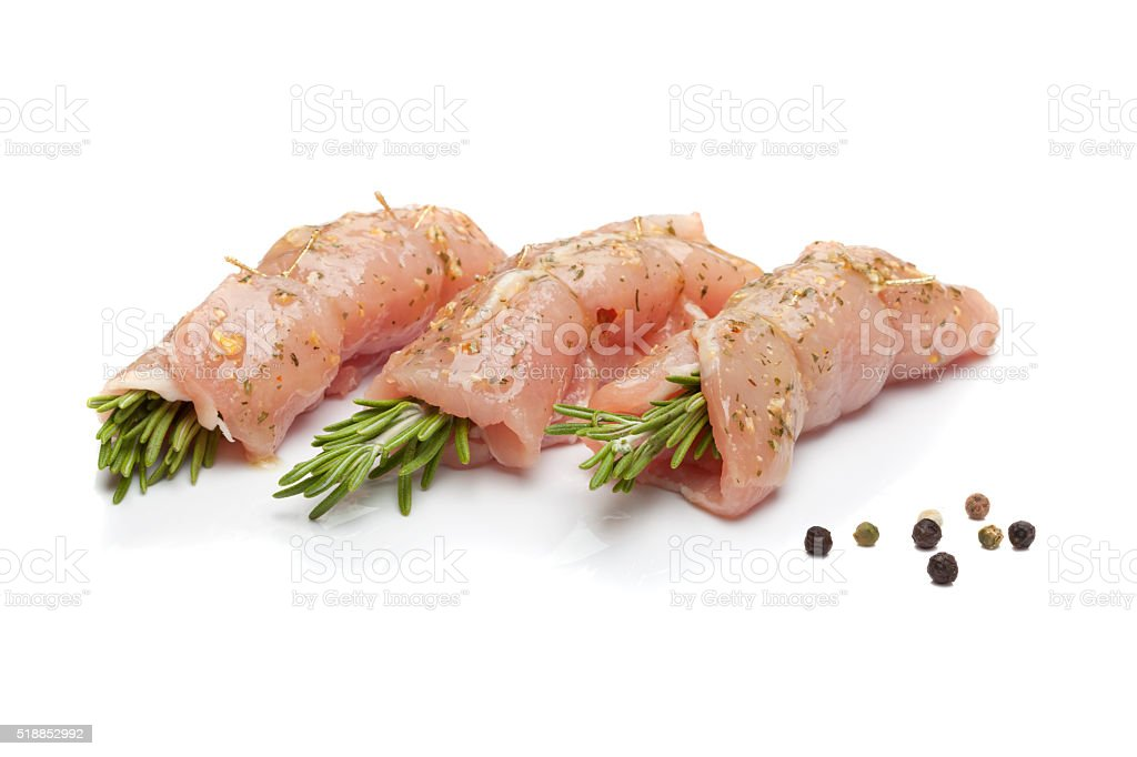 Chicken fillet marinated with rosemary stock photo