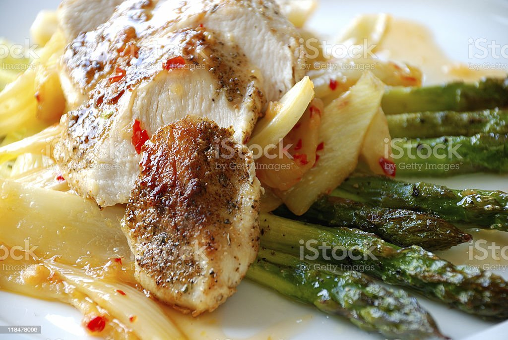 Chicken fillet with asparagus royalty-free stock photo