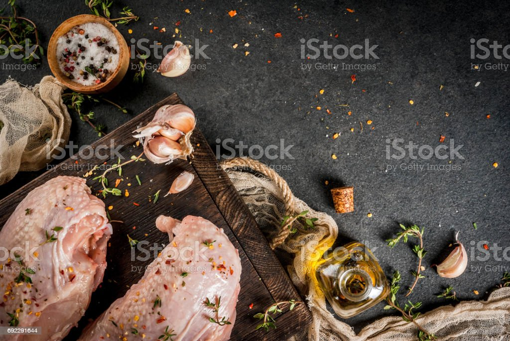 Chicken fillet with spices stock photo