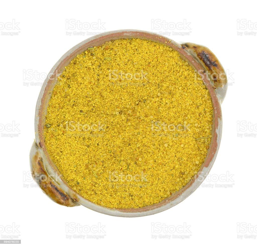 Chicken flavored bouillon in a small dish stock photo