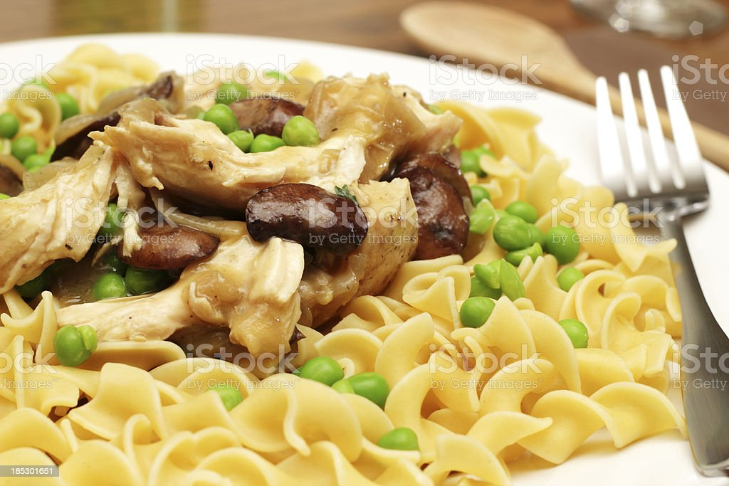 Chicken Fricassee over noodles stock photo