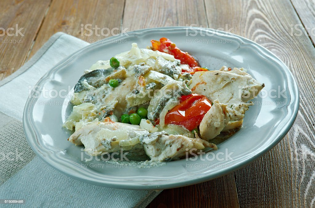 Chicken fricassee  style of Alsace stock photo