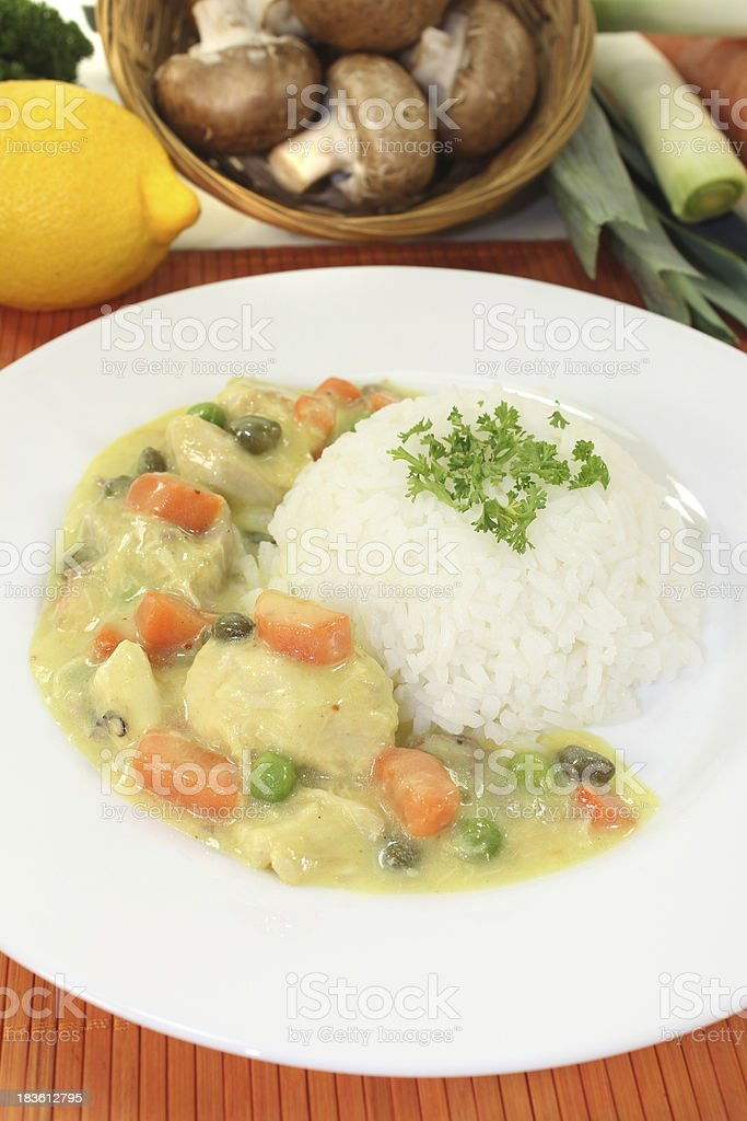 Chicken fricassee with rice royalty-free stock photo