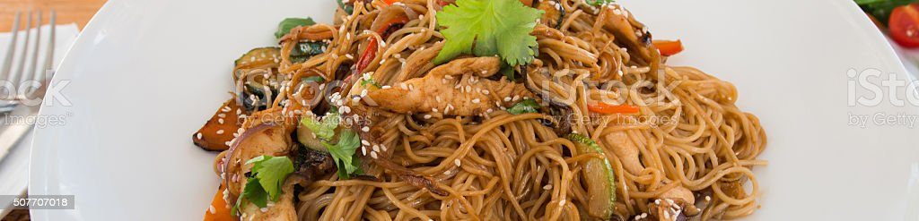 Chicken fried noodle stock photo