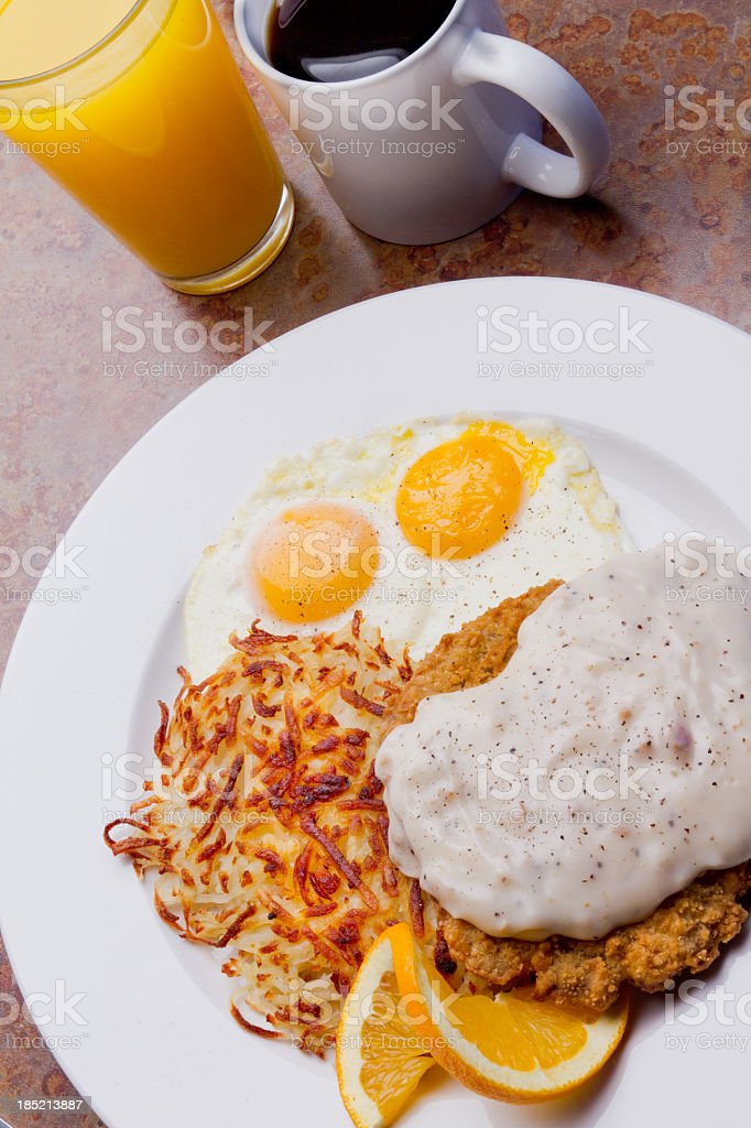Chicken Fried Steak and Eggs royalty-free stock photo