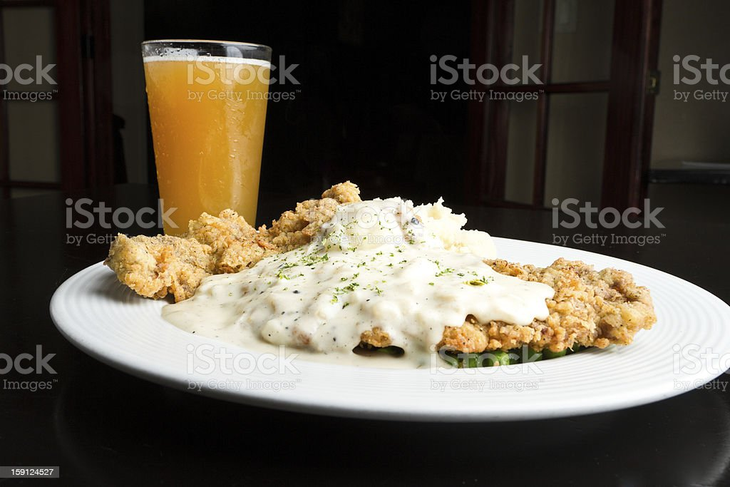 Chicken Fried Steak with Beer stock photo