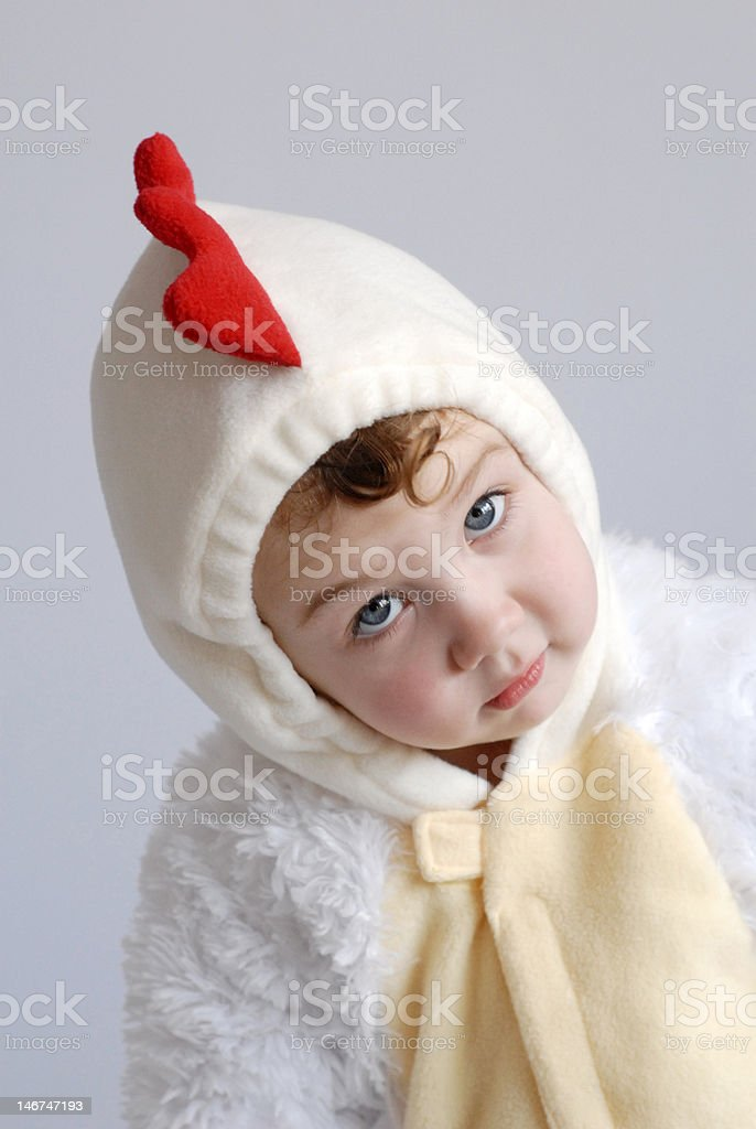 Chicken Girl Tilted Head stock photo