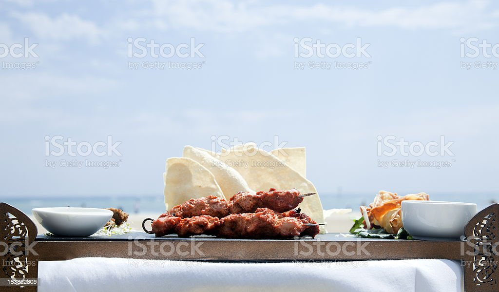 Chicken gourmet skewer stock photo