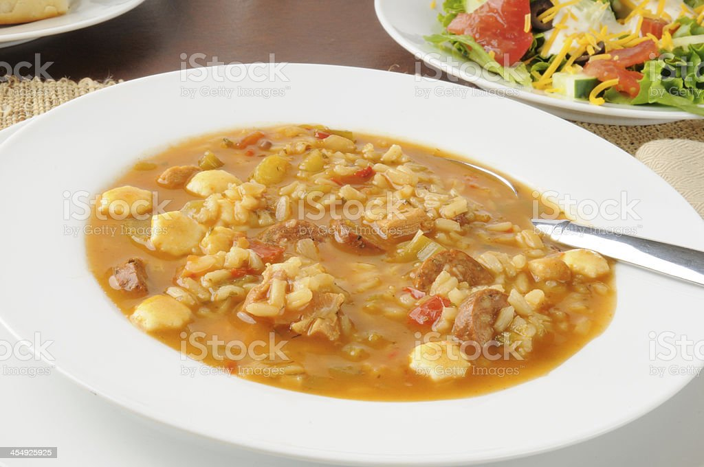 Chicken gumbo soup stock photo