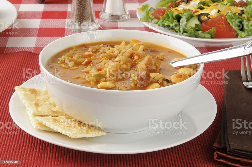 chicken gumbo with crackers stock photo