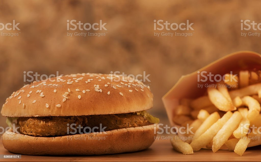 Chicken hamburger with  fried fries stock photo