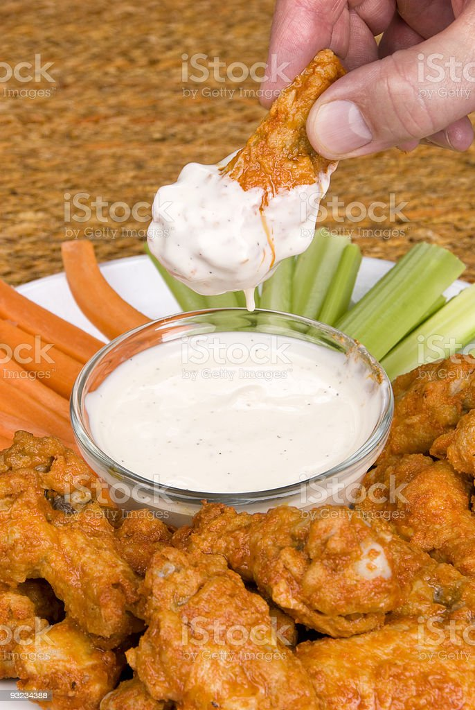 Chicken hot wings and dipping sauce royalty-free stock photo