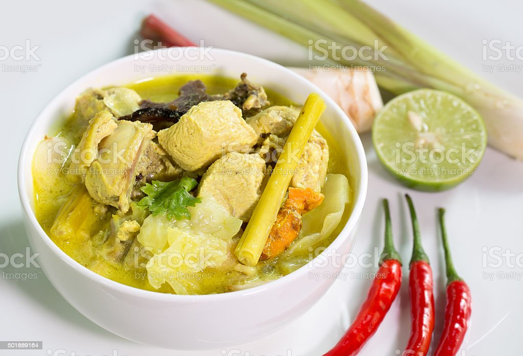 Chicken in coconut milk soup, Thai food (tom kha gai) stock photo